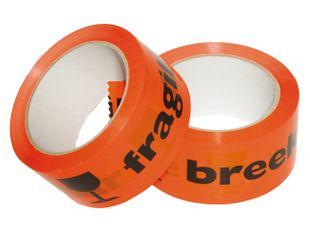 PP tape BREEKBAAR/FRAGILE 50 mm x 66 mtr  oranje/zwart